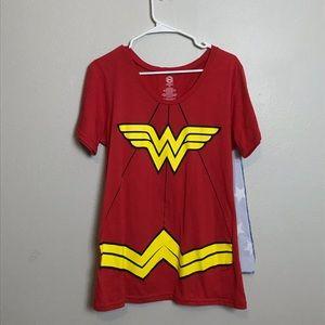 Wonderwoman shirt with cape costume pj superhero